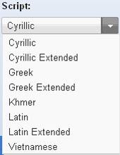 Вибір Google Web Fonts