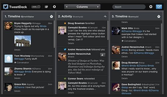 Панель соціальних медіа TweetDeck
